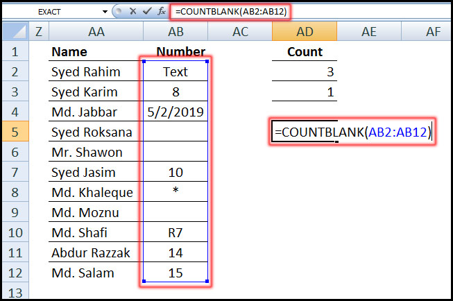Using COUNTBLANK Function for count blank cell in Excel