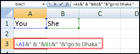 Using Ampersand in Concatenate Function in Excel