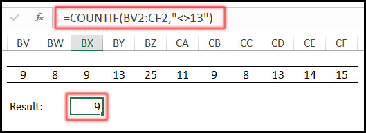 COUNTIF with Not Equal To Operator in Excel