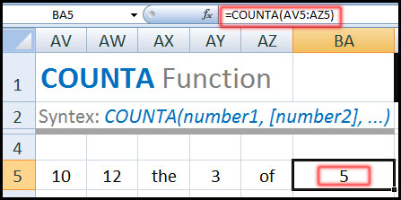COUNTA Function in Excel Tutorial in Bangla