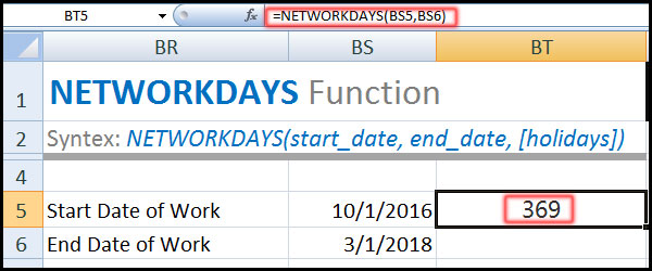 NETWORKDAYS Function in Excel Tutorial in Bangla