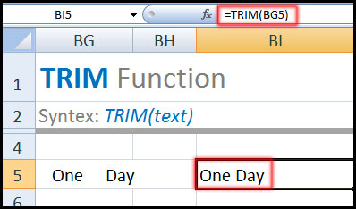 TRIM Function in Excel Tutorial in Bangla