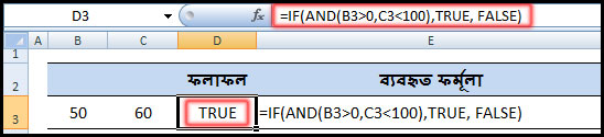 Using IF Function with AND, OR, NOT Function in Excel Example 1