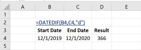 How to Calculate Number of Days Between Dates in Excel with DATEDIF Function