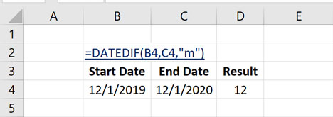 How to Calculate Number of Month Between Dates in Excel with DATEDIF Function?