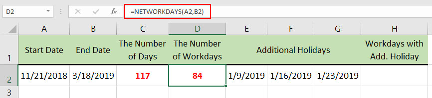 How to use NETWORDDAYS function in Excel 2007