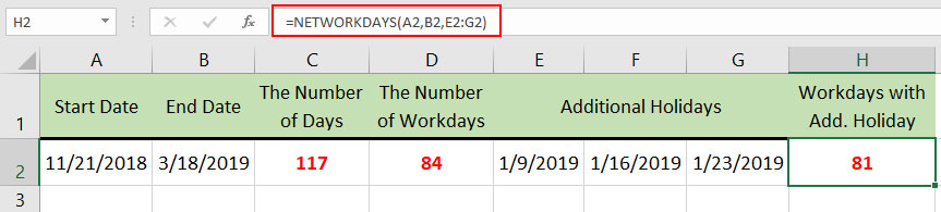 How to use NETWORDDAYS function in Excel