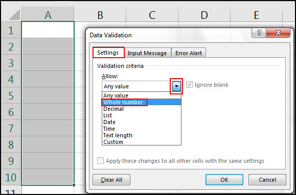 Create Data Validation Rule in Excel