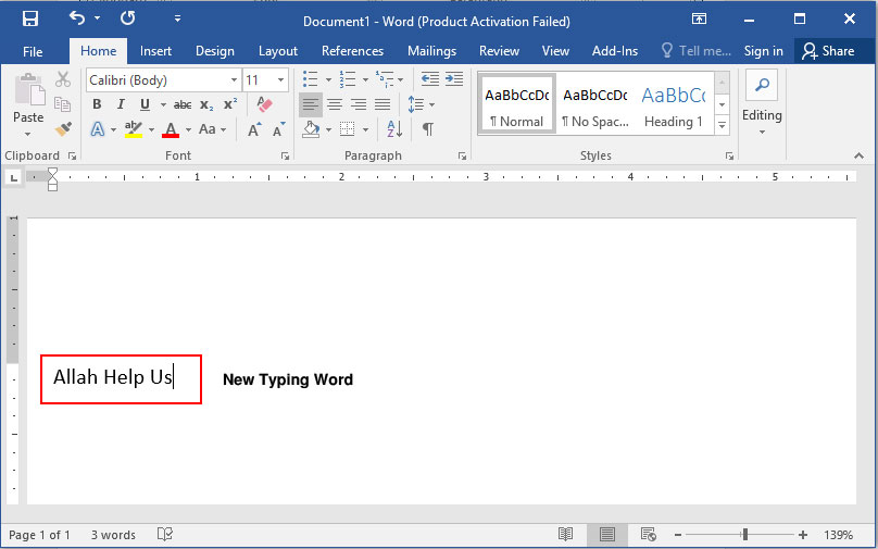 How to insert or entering text in MS Word 2016