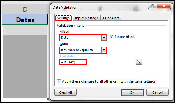 Only entry desire date in desire cell with data validation in excel