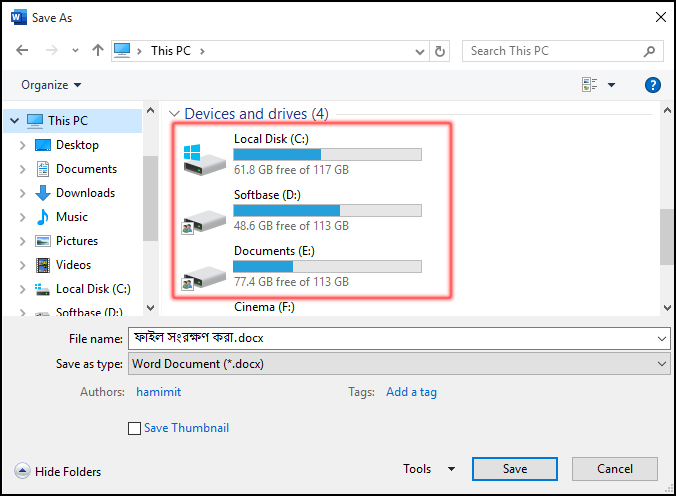 How to save a document or file in ms word 2016