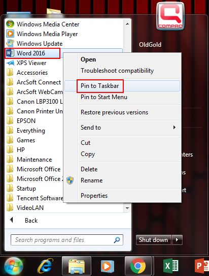 How to pin Word 2016 in taskbar