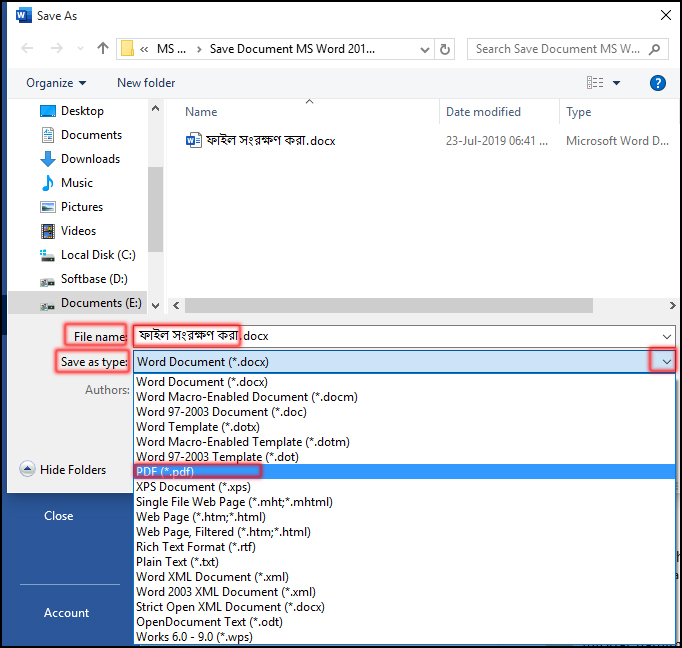 How to save a document or file in pdf format in ms word 2016