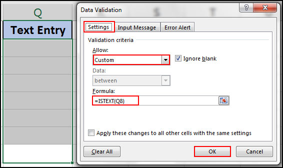 Only entry text in desire cell in excel
