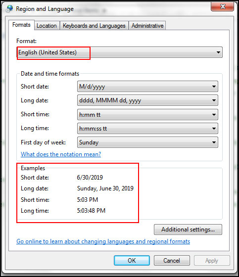 How to change default date and time setting in windows 7