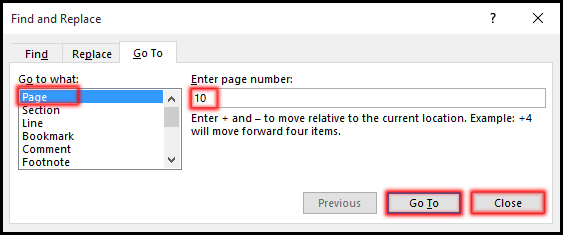 Using GoTo Command in MS Word 2016