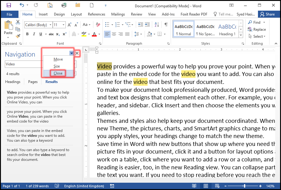 How to close Find Task Pane Option in Word 2016 Document