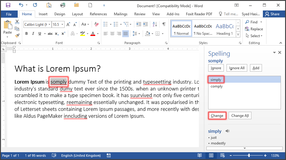 Spell and Grammar Check in MS Word 2016 Bangla Tutorial
