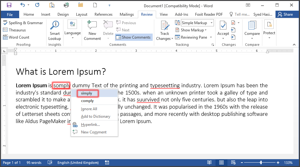 Spell and Grammar Check with Mouse in MS Word 2016