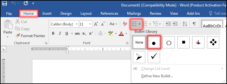Bullets & Numbering in MS Word 2016