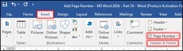 পৃষ্ঠা নাম্বার যুক্ত করা [Insert Page Number in MS Word 2016]