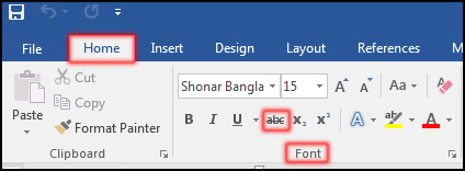 How to Strikethrough Text in MS Word 2016