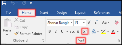 How to Superscript Text in MS Word 2016