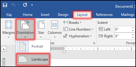 Change Page Orientation in MS Word 2016