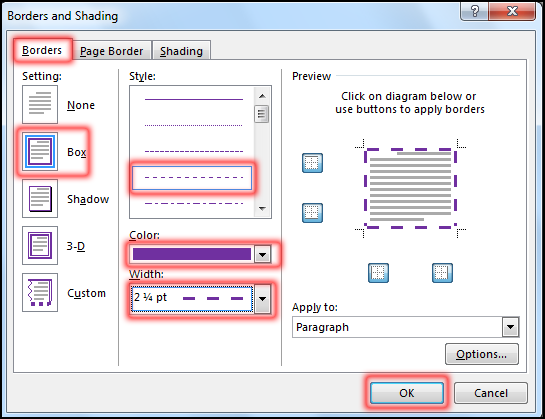 Create Border And Shading in MS Word 2016