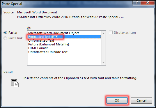 How to use Paste Special Command in MS Word 2016