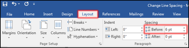 Change Spacing Before Line or Paragraph in MS Word 2016