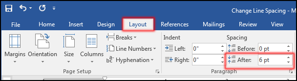 Change Spacing After Line or Paragraph in MS Word 2016