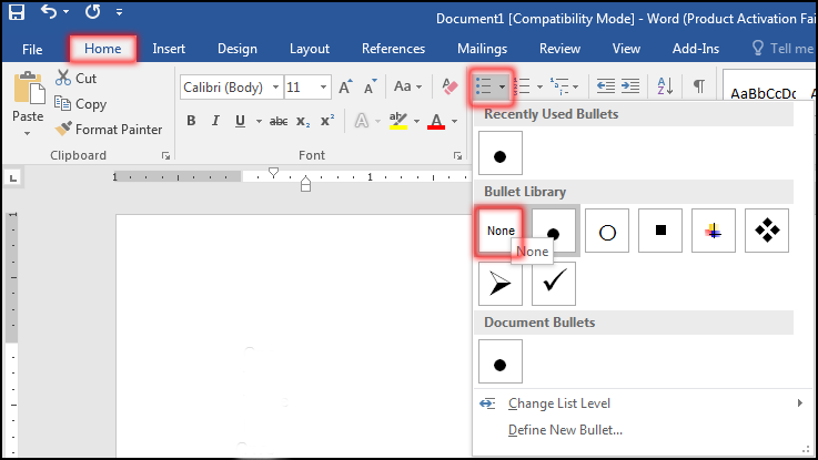 Delete Bullets in MS Word 2016
