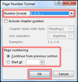 Formatting Page Number in MS Word 2016
