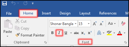 How to Italic Text in MS Word 2016