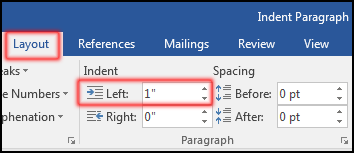 Left Indent in MS Word 2016