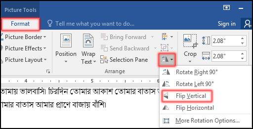 Rotate Picture from Tab in MS Word 2016 Bangla Tutorial
