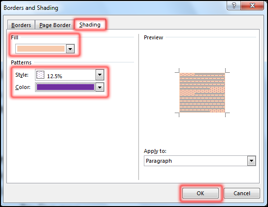 Create Text Shading in MS Word 2016