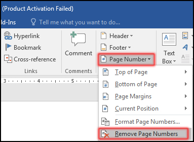 Removing Page Number in MS Word 2016