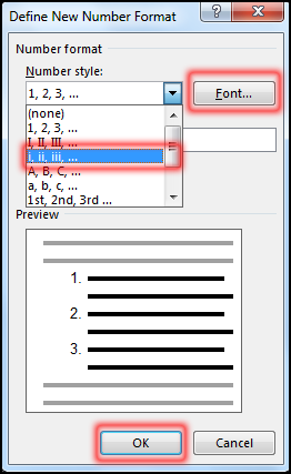 Define New Number Format in MS Word 2016