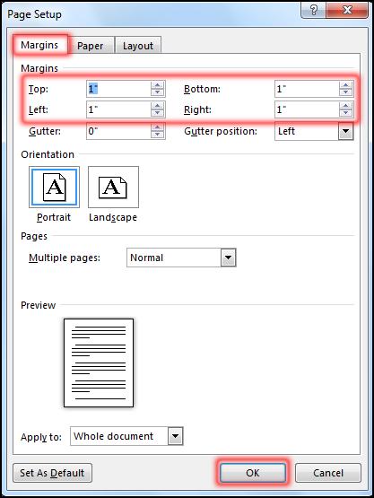 পেইজ সেটআপ নির্ধারণ করা [Create Custom Margin in MS Word 2016]