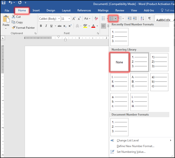 Delete Numbering in MS Word 2016