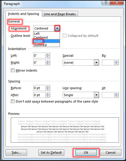 Text Right Alignment in MS Word 2016