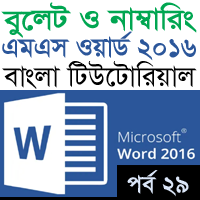 Bullet And Numbering - MS Word 2016 - Feature Image