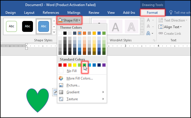 Change Shape Fill Color in MS Word 2016 Bangla Tutorial.png