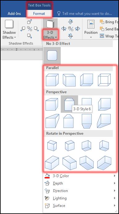 টেক্সট বক্স ফরমেট করা [How to change 3D-Effect in MS Word 2016 Bangla Tutorial]