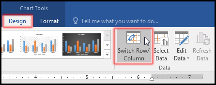 How to switch column and row data in a chart or graph 2