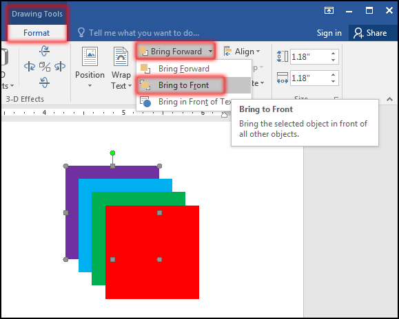 Bring to Front Selected Object in MS Word 2016 Bangla Tutorial