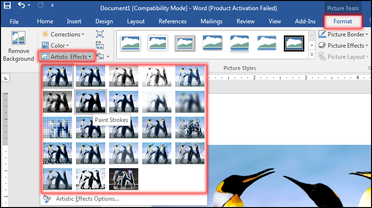 How to Change Image in Artistic Effects in MS Word 2016 Bangla Tutorial