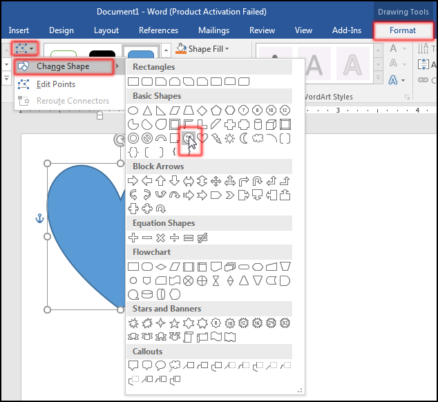 Change Shape to Different Shape in MS Word 2016 Bangla Tutorial